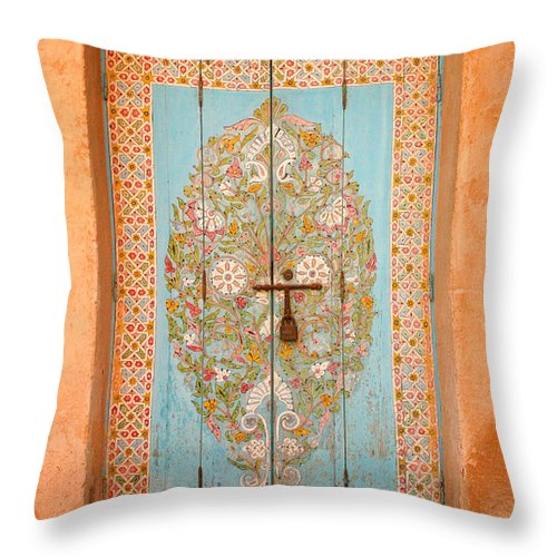 Door Throw Pillow featuring the photograph Colourful Moroccan Entrance Door Sale Rabat Morocco by Ralph A Ledergerber-Photography
