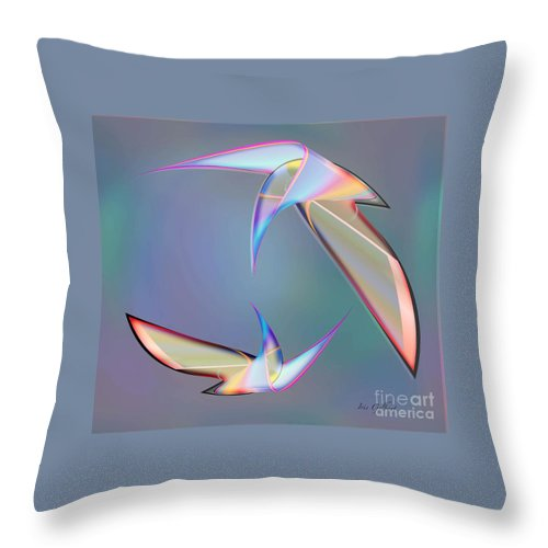 Birds Throw Pillow featuring the digital art Colourful Plumage 2 by Iris Gelbart