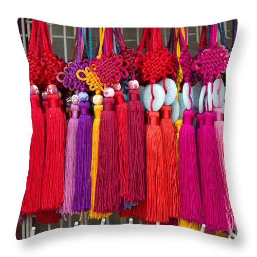 Art Throw Pillow featuring the photograph Colourful Souvenirs In China by Jacek Malipan
