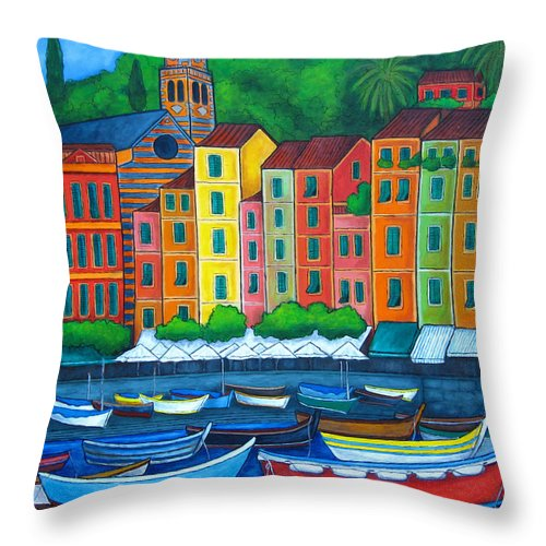 Portofino Throw Pillow featuring the painting Colours Of Portofino by Lisa Lorenz