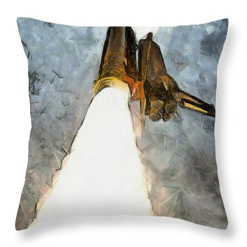 Nasa Throw Pillow featuring the painting Columbia Final Voyage by Murphy Elliott