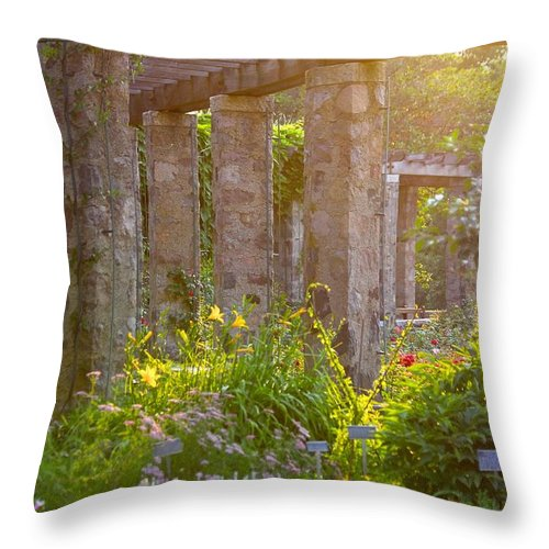 Botanical Throw Pillow featuring the photograph Columns In The Garden by Debbie Nobile