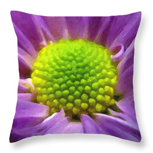 Flower Throw Pillow featuring the photograph Come Closer - Digital Painting Effect by Rhonda Barrett
