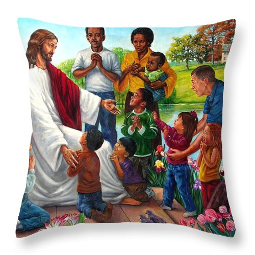 Children Throw Pillow featuring the painting Come Unto Me by John Lautermilch