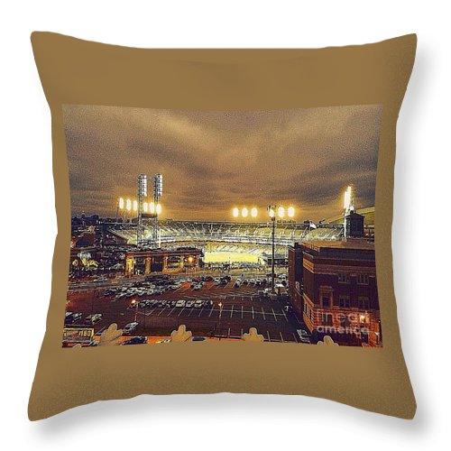 Comerica Park Throw Pillow featuring the photograph Comerica Night Game 2 by J S