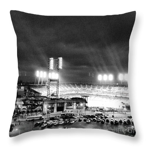 Detroit Throw Pillow featuring the photograph Comerica Park At Night by J S