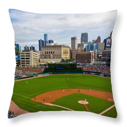 Comerica Park Throw Pillow featuring the photograph Comerica Park by John McGraw
