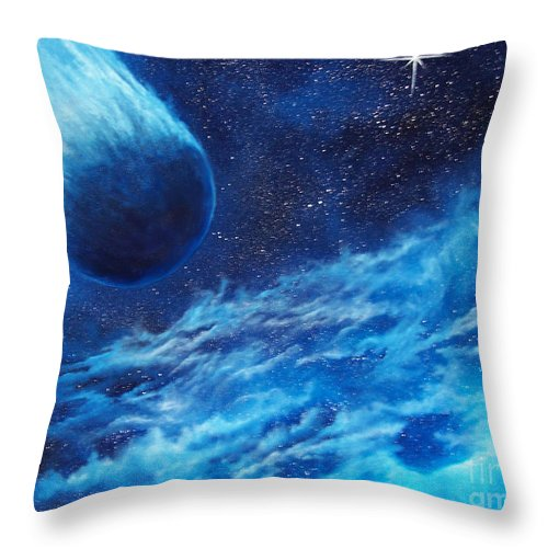 Astro Throw Pillow featuring the painting Comet Experience by Murphy Elliott