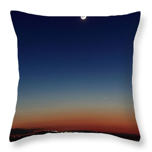 Comet Throw Pillow featuring the photograph Comet Panstarrs And Moon Over Wachusett Mountain by John Burk
