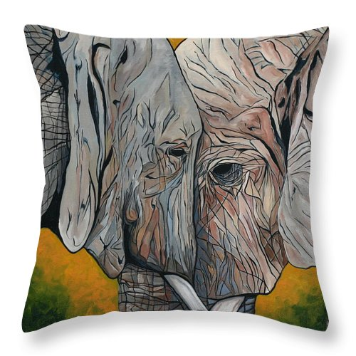 Elephant Throw Pillow featuring the painting Comfort by Aimee Vance