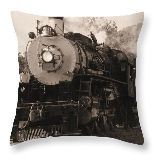 Trains Throw Pillow featuring the photograph Coming Around The Mountain by Richard Rizzo