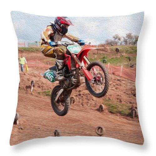 Motorcross Throw Pillow featuring the digital art Coming Down by Roy Pedersen