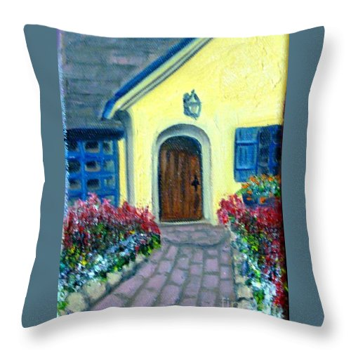 Cottage Throw Pillow featuring the painting Coming Home by Laurie Morgan