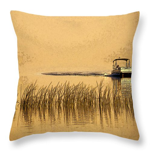 Boat Throw Pillow featuring the digital art Coming Home by Marti Snider
