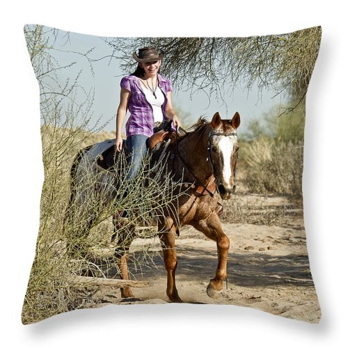 Horse Throw Pillow featuring the photograph Coming Through The Wash by Kathy McClure
