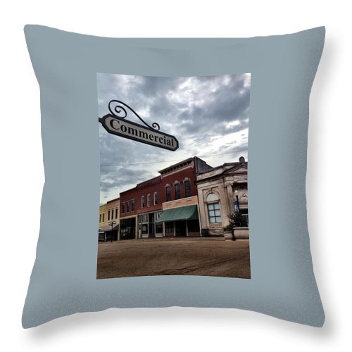 Yazoo City Throw Pillow featuring the photograph Commercial St by Michele Monk