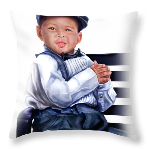 Little Boy Throw Pillow featuring the painting Commissioned - Handsome Baby Boy 1a by Reggie Duffie