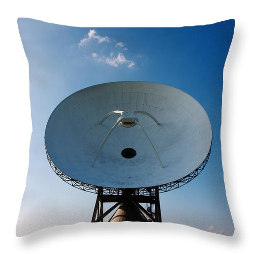 Friesland Throw Pillow featuring the photograph Communicating Via Satellite Dishes. by Jan Brons