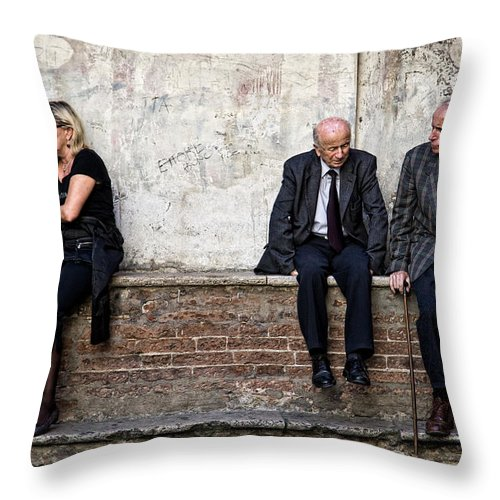 Street Photography Throw Pillow featuring the photograph Communication by Dave Bowman
