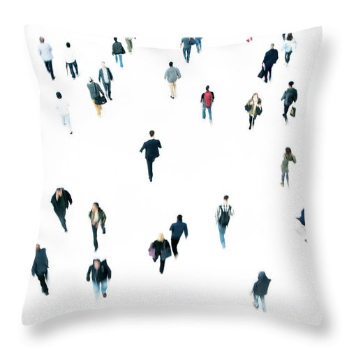 Working Throw Pillow featuring the photograph Commuters by Ferrantraite