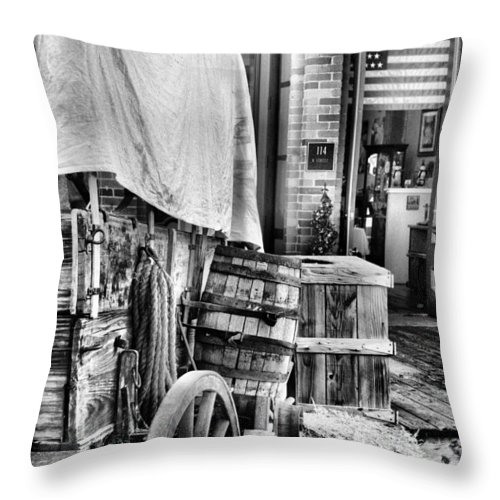 Old Sacremento Throw Pillow featuring the photograph Com'n To Town For Supplies by Sally Bauer