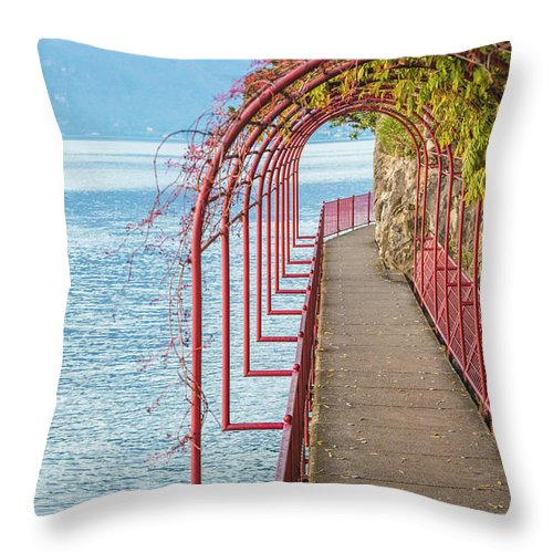 Non-urban Scene Throw Pillow featuring the photograph Como District Lake, Varenna by Deimagine