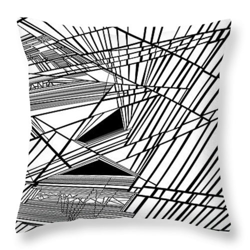 Dynamic Black And White Throw Pillow featuring the painting Compassion West by Douglas Christian Larsen