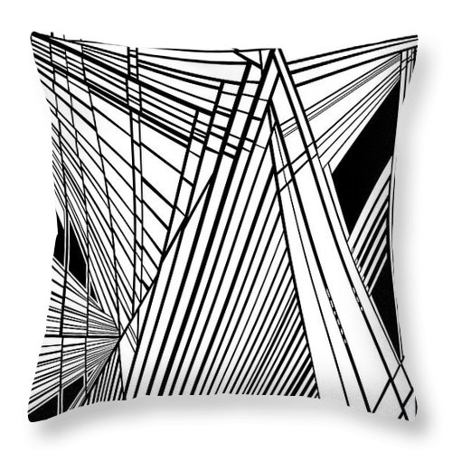 Dynamic Black And White Throw Pillow featuring the painting Compassion West Two by Douglas Christian Larsen