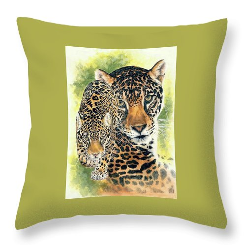 Jaguar Throw Pillow featuring the mixed media Compelling by Barbara Keith