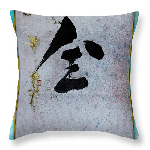 Abstract Brush Work Throw Pillow featuring the painting Completely Wholly Entirely by Peter v Quenter