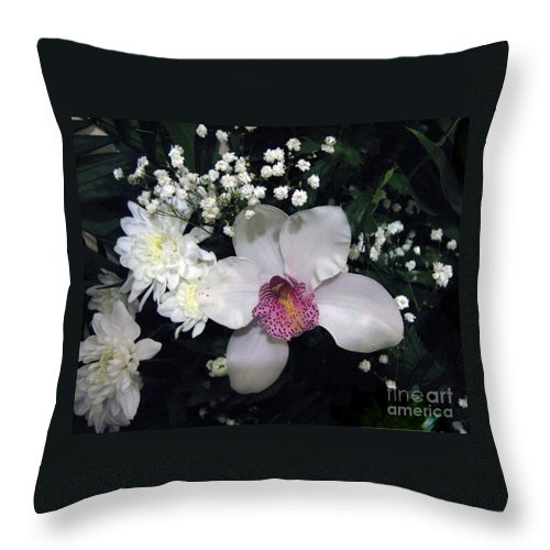 Flower Throw Pillow featuring the photograph Composition With A Pink Orchid by Ausra Huntington nee Paulauskaite