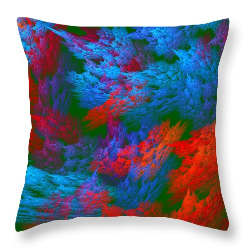 Red Throw Pillow featuring the photograph Computer Generated Abstract Red And Green Fractal Flame by Keith Webber Jr