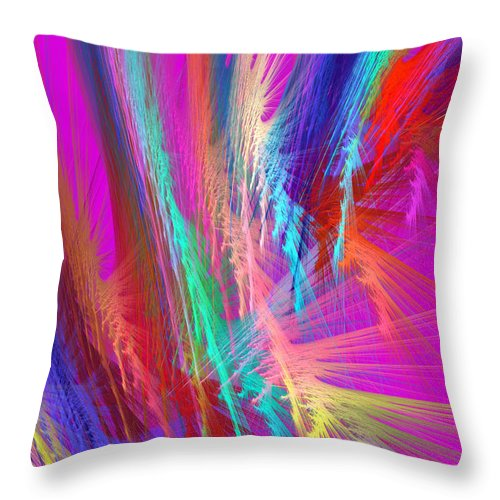 Pink Throw Pillow featuring the photograph Computer Generated Pink Abstract Fractal by Keith Webber Jr