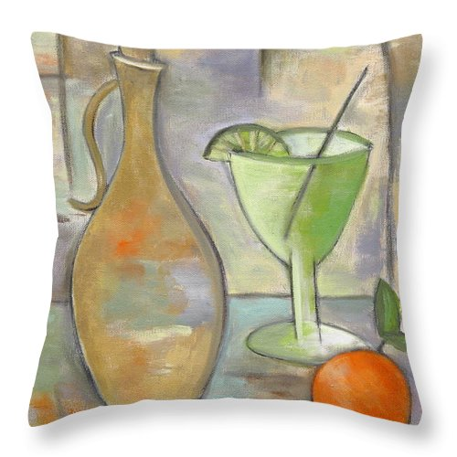 Still Life Throw Pillow featuring the painting Con Limon by Trish Toro