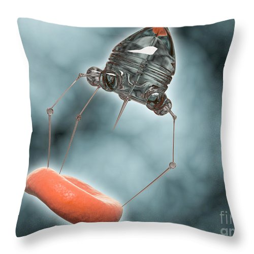 Research Throw Pillow featuring the digital art Conceptual Image Of A Nanobot Injecting by Stocktrek Images