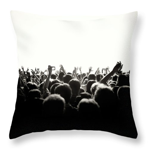 Rock Music Throw Pillow featuring the photograph Concert Crowd by Alenpopov