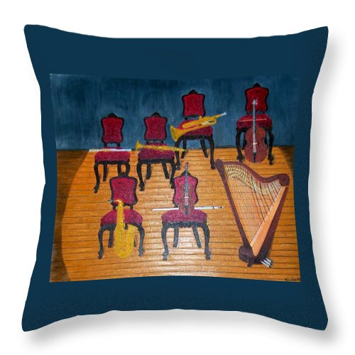 Throw Pillow featuring the painting Concerto by Leslye Miller