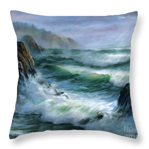 Transparent Wave Throw Pillow featuring the painting Concerto by Sharon Abbott-Furze
