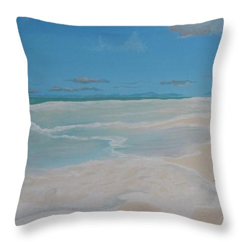 Conch Throw Pillow featuring the painting Conch On The Beach by Lana Arft