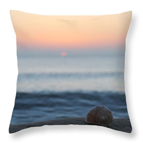 Seashell Throw Pillow featuring the photograph Conch Shell Sunrise by Robert Banach