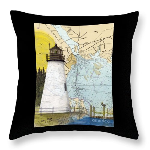 Concord Throw Pillow featuring the painting Concord Pt Lighthouse Md Nautical Chart Map Art Cathy Peek by Cathy Peek