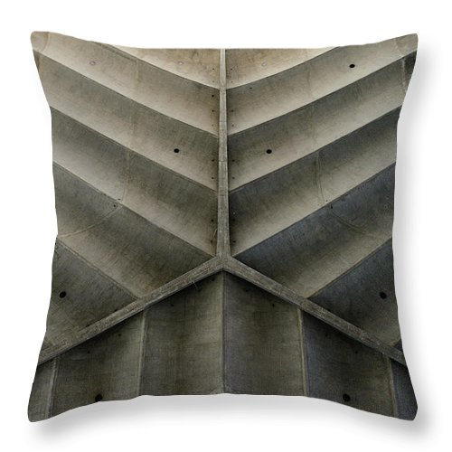 Shadow Throw Pillow featuring the photograph Concrete Fishbone Or Leaf Design by Olrat