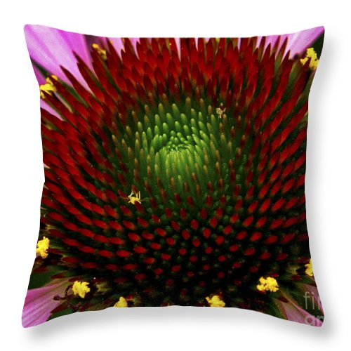 Flower Throw Pillow featuring the photograph Coneflower - Little Yellow Spider by Paul W Faust - Impressions of Light