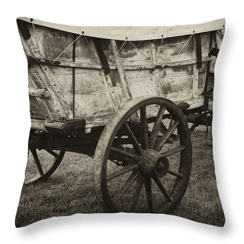 Conestoga Throw Pillow featuring the photograph Conestoga Wagon by Paul W Faust - Impressions of Light
