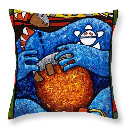 Puerto Rico Throw Pillow featuring the painting Conga On Fire by Oscar Ortiz