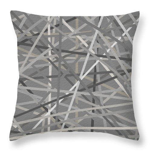 Charcoal Gray Throw Pillow featuring the painting Conjoined by Lourry Legarde