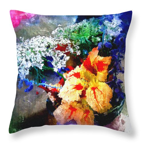 Delphinium Throw Pillow featuring the digital art Conjuring Claude Monet by RC DeWinter