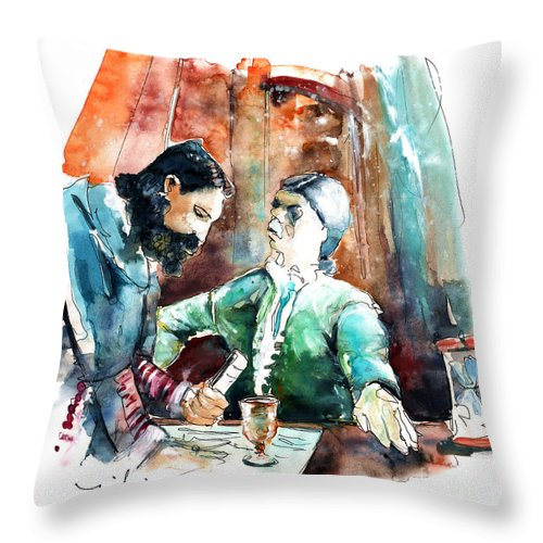 Portugal Throw Pillow featuring the painting Conquistadores On The Boat In Vila Do Conde In Portugal by Miki De Goodaboom