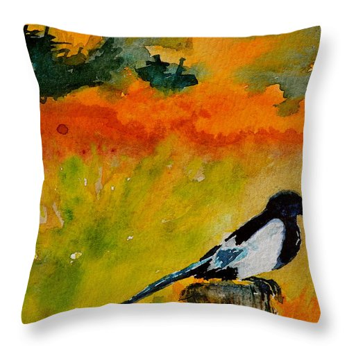 Magpie Throw Pillow featuring the painting Consider by Beverley Harper Tinsley