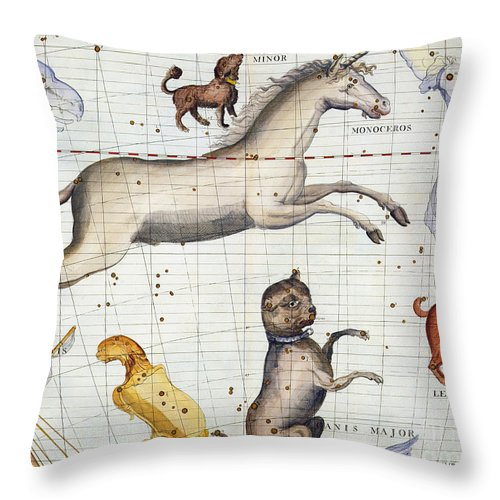 Map Throw Pillow featuring the painting Constellation of Monoceros with Canis Major and Minor by Sir James Thornhill